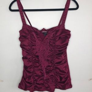 XOXO Burgundy Satin Tank Top Sm